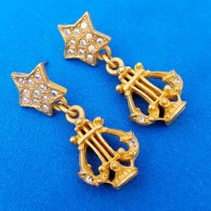 Jewelry - Lyre Harp Earrings Goldtone Musical Pierced